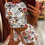 Women's Shorts Pajamas Set Printed T Shirt O Neck Short Sleeve Belt Bow Ruffle Hem Female Sets 2020 Summer Fashion Lady Homeware