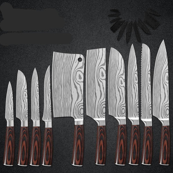 Japanese Kitchen Knife Set Laser Damascus Pattern Stainless Steel Knife Set Kitchen Tools