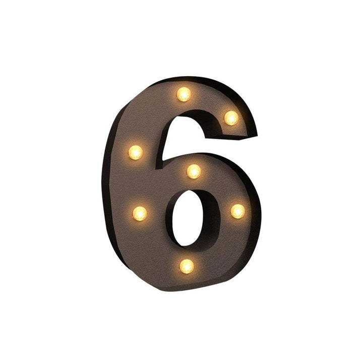 LED Metal Number Lights Free Standing Hanging Marquee Event Party D?cor Number 6