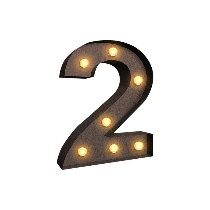 LED Metal Number Lights Free Standing Hanging Marquee Event Party D?cor Number 2 - OZ Discount Store