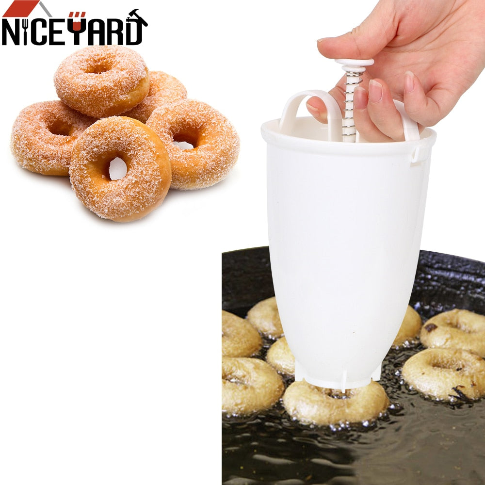 Donut Mould Easy Fast Portable Donut Maker Manual Waffle Dispenser Doughnut Machine Arabic Waffle Plastic Lightweight Deep Fry