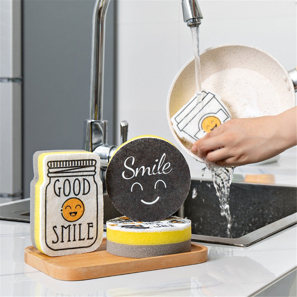 4PCS Thick Sponge Creative Smiley Face Strong Decontamination Dish Washing Cloth Cleaner Sponges Home Kitchen Cleaning Tool Set