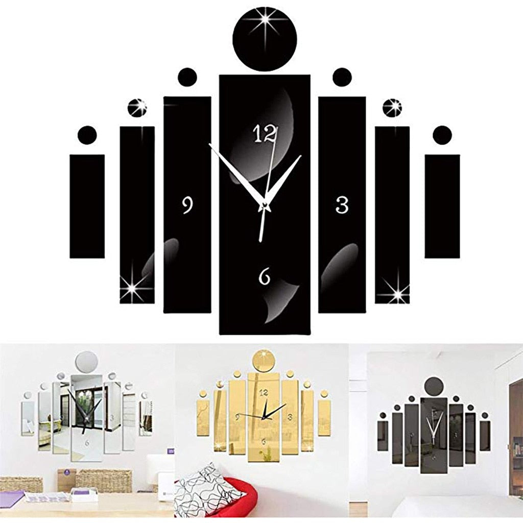 Luxury 3D Mirror Silver Wall Clock