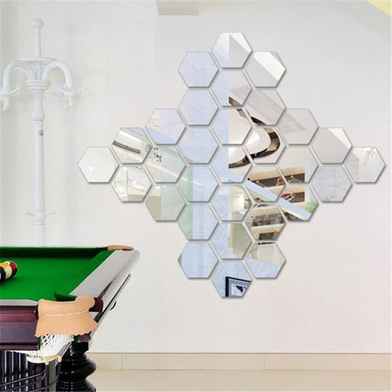 3D Mirror Hexagon Vinyl Removable
