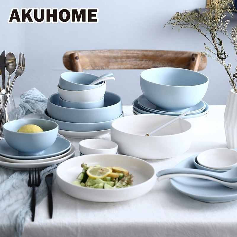 Nordic Style Solid Bowls Ceramic Dishes And Plates Sets