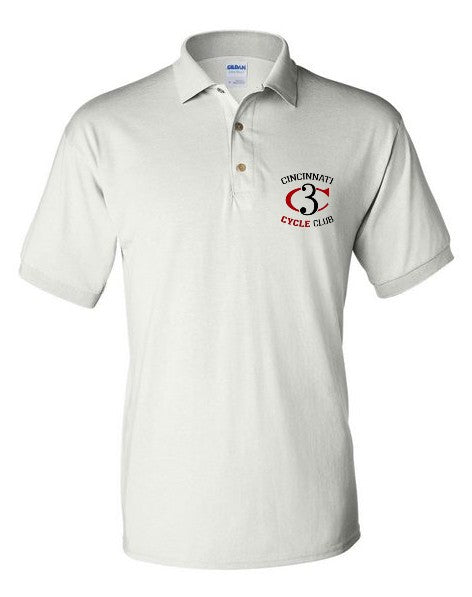 Cincinnati Cycle Club short sleeve embroidered polo -  White