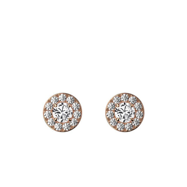 Boucles d'oreilles halo diamants 0.20 ct x 2 Valentine