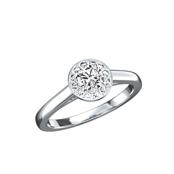 Solitaire entourage diamants Valentine