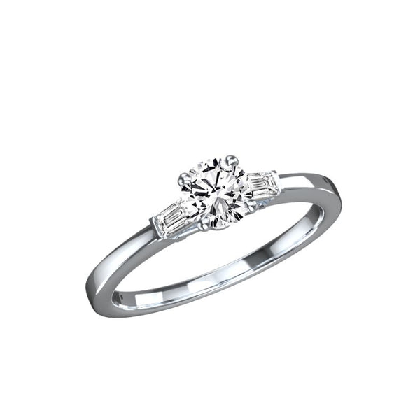 Bague diamant rond et diamants taille tapers Grace