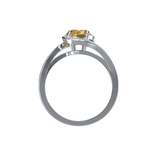 Bague diamants zircon jaune or éthique Céleste