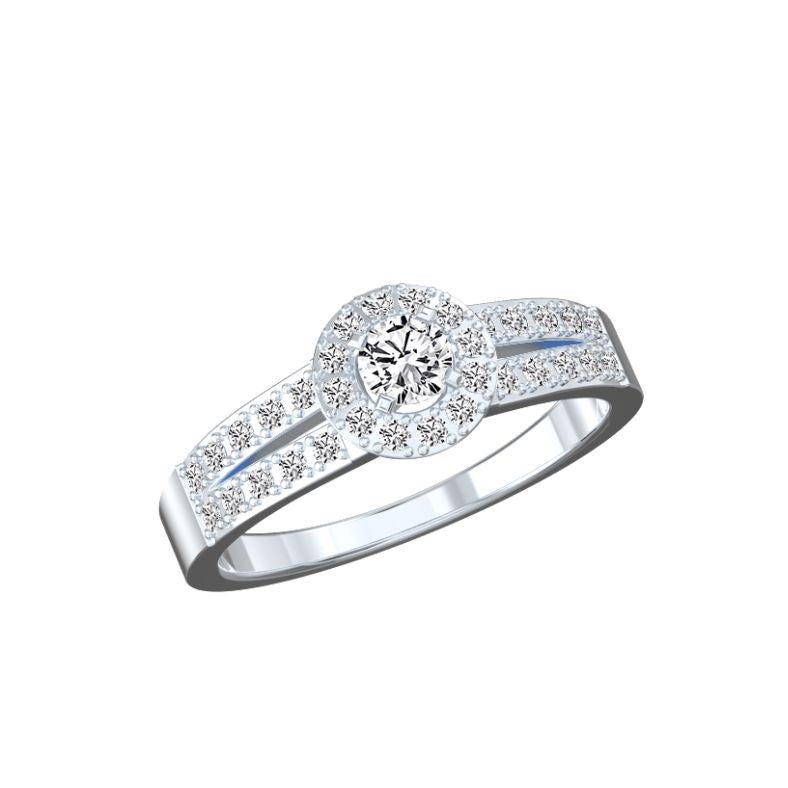 Bague halo diamants or éthique Clara