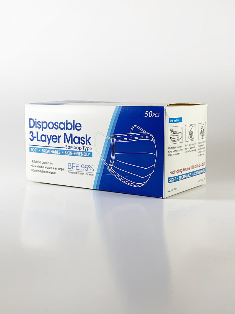 3 Ply Non-Medical Disposable Face Masks, Box of 50