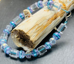 Clear Murano and Turquoise Crackle