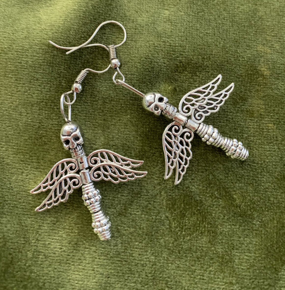 Dragonfly Skull Earrings