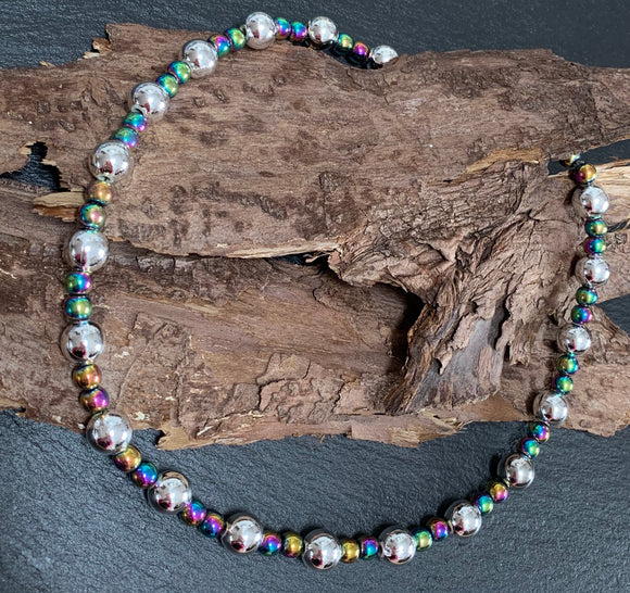 Rainbow colour changing beaded collar necklace