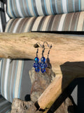 Deep blue Murano and Czech glass beaded earrings