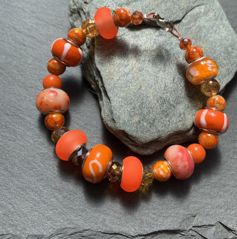 Bright orange Murano beaded bracelet