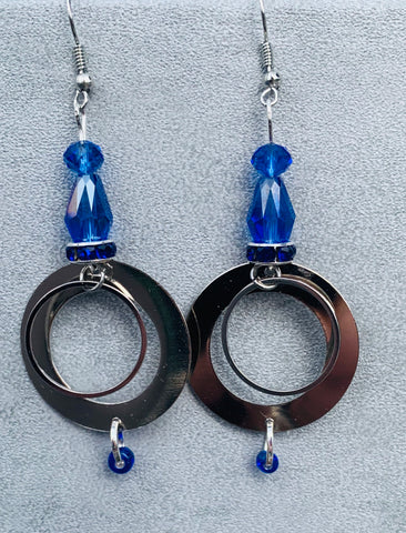 Vibrant Czech blue glass and stainless steel