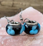 Turquoise and black Murano glass