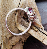 Raspberry love heart copper ring with silver coating