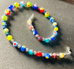 Brightly coloured Glass and Silver Collar Necklace