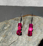 Bright Fuscia pink skull and glass bead drop earrings