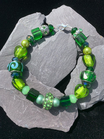 Green Murano Glass Beaded Bracelet with charm beads