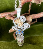 Sugar Skull and Rhinestone Pendant on Sterling Silver Chain