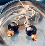 Black Czech Crystal and Sterling Silver