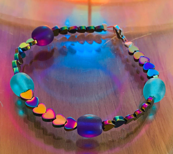 Heat colour changing hematite love hearts