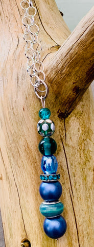 Drop blue and turquoise pendant with chunky chain