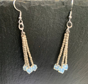 Moonstone cubes and aluminium seed beads