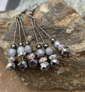 Silver pewter and crystal  beaded drop earrings