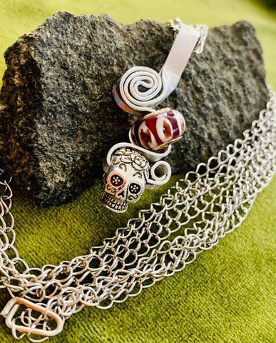 Skull and Glass Charm Pendant on Stainless Steel Chain