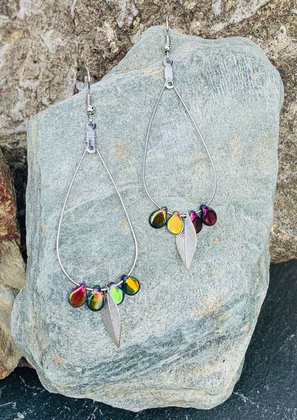 Teardrop with Czech glass & feather