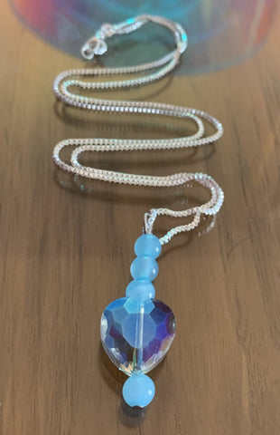 Blue jade and crystal love heart