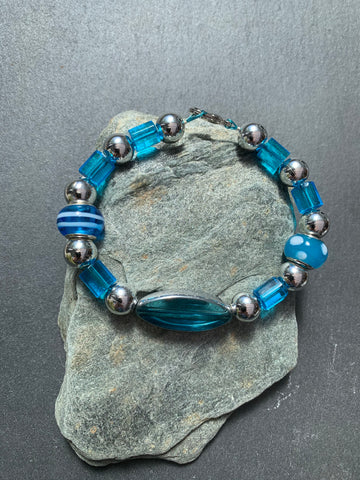 Czech and Murano glass blue bracelet