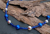 Blue and silver collar beaded necklace