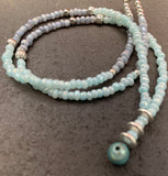 Baby blue and grey beaded necklace