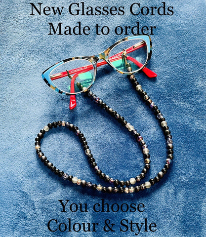 Glasses Cord with mixed glass beads.