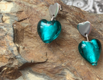 Murano glass love hearts & love heart stud