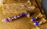 Blue Skull pendulum with Crystal Earrings