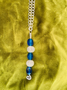 Beautiful blue Murano glass beads on stainless steel chain