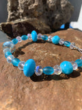 Baby blue Murano and Czech glass beaded bracelet