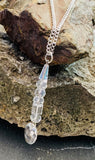 Crystal drop pendant on stainless steel chain