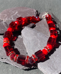 Cherry red Glass and crystal beaded bracelet