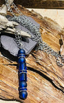 Deep Blue Glass Pendant on Hypoallergenic Stainless Steel Chain