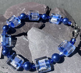 Lovely classic blue and crystal beaded bracelet