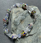 Crystal glass and multicoloured crystal charm beads