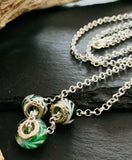 Sterling Silver Green Glass Pandora Charms